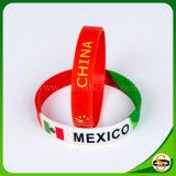 Marchio stampato con il nome di paese ed il Wristband del silicone della bandierina