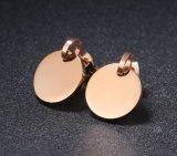 La famosa marca Bulgaria Acero Inoxidable 316L Stud Earrings negro redondo de color oro rosa Concha pendientes de joyería femenina de lujo