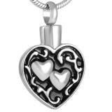 La double prise d'acier inoxydable de coeur incinère le bijou commémoratif d'urne de souvenir