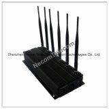 6 bandas sem fios Jammer, GSM, GPS, Sinal de Celular Bloqueador Socador, GPS Lojack 4G Wimax de Interferência de Sinal 6 antena Telefone