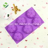 100% moulages de gâteau de fleur des silicones 6-Cavity de catégorie comestible