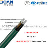 Tfxp, Al/XLPE/Hpde/PVC, cabo subterrâneo, 0.6/1kv, HD 603.5m