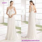 Gasa ligera una línea vestido de boda con bordado en la parte posterior