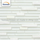 8mm reiner weißer glatter Streifen-Glasmischungs-Stein-Mosaik-Fliese