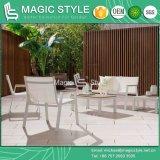 Белый цвет текстиля на открытом воздухе с видом на сад древесины из полимера строп шезлонгами стул Отель Poly дерева чай таблица наращиваемые коммутаторы для отдыхающих диван