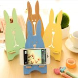 귀여운 토끼 나무로 되는 보편적인 지능적인 전화 대 마운트 책상 홀더