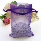 개인화한 투명한 Organza 선물은 성탄 선물 패킹을%s 도매 공단 리본 졸라매는 끈 부대를 자루에 넣는다