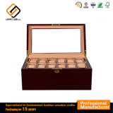24s Slots Caixa de Armazenamento de relógio de madeira/Case com almofadas amovíveis