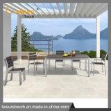 Патио алюминий таблица мебель для отдыха в саду полимерной древесины обеденный стул