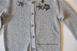 Casacos de camisola de malha de manga comprida para crianças com botão