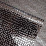 Cuoio artificiale impresso dell'unità di elaborazione del nero scuro per l'indumento