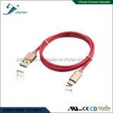 USB Charing e cabo de dados da transmissão com cabeça de Matel e a trança cor-de-rosa