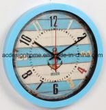 Orologio di parete circolare di plastica blu-chiaro decorativo di migliori prezzi di estate del mare della spiaggia dell'ancoraggio