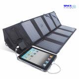 28W DC e USB dupla saída de carregador de painel solar dobrável para iPad, PDA, celular, câmera de vídeo dispositivo de carga ao ar livre (FSC-28B)