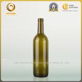 平底750mlのコルクヘッドボルドーの赤ワインのびん(035)