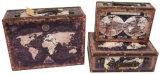 S/3 Antigüedades decoración diseño vintage de Papel Moneda de la impresión de cuero de PU/cuadro de la maleta de almacenamiento de madera MDF