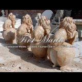 Fontaine d'or de quatre lions de travertin pour les meubles Mf-1059 de jardin