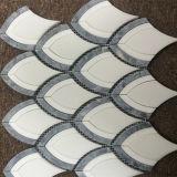 Горяч-Продавать Fishtail кристаллический белое водоструйное мраморный цену плитки мозаики