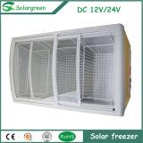 Solar de la puerta de vidrio blanco nevera-congelador frigorífico con pantalla LED