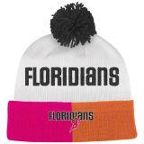 球の上によって編まれる帽子の白い習慣POM POMの帽子の帽子