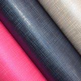 多彩な格子によって浮彫りにされるのどPUの革、人工的な袋の革