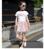 Ropa de dos piezas de los niños (de la falda floral blanca de T-shirt+)
