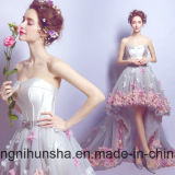 Blumen schließen vorderes langes rückseitiges Abend-Kleid-Organza-Abschlussball-Kleid kurz