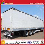 3 ESSIEUX Aluminium Acier Strong Box semi-remorque de chariot latéral de rideau avec le côté portes arrière