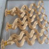 前担保付きの毛の釘は毛の拡張100%実質の人間の毛髪をUひっくり返す