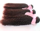 ねじれたカール自然なカラーブラジルのバージンの人間の毛髪の拡張