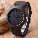 Nova chegada de bambu de madeira natural preta relógio de pulso homens Desportivo do macho de relógio de quartzo simples Relógio casual com couro genuíno