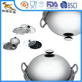 5ply Dienblad van de Wok van Cookware van het roestvrij staal het Vastgestelde met Deksel (aes-3036)