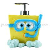 목욕 부속품 세트를 가진 밝은 그려진 목욕탕 위생 제품
