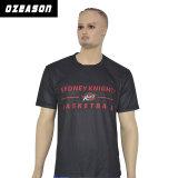 도매 100%년 폴리에스테 주문 승화 검정 t-셔츠