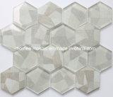L'impression jet d'encre gris clair à six pans de mur de la Mosaïque de carreaux de verre