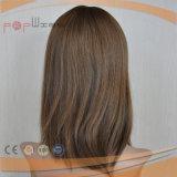 브라운 색깔 실크 최고 레이스 정면 의학 가발 (PPG-l-01550)