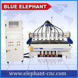 Ranurador de madera del CNC de 8 ejes de rotación de China con precio del vector del vacío del ranurador del CNC