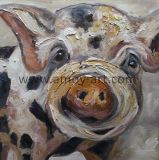 Hechos a mano arte de la granja Piggy Óleo sobre lienzo para decoración de pared