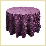 Pano roxo da mesa redonda da moeda do tafetá do projeto novo para a decoração dos casamentos