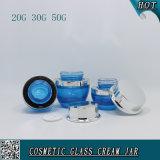 Vaso impaccante cosmetico di vetro glassato del commercio all'ingrosso del fornitore con il coperchio a vite per la lozione crema facciale francese 20g 30g 50g di cura di pelle