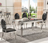 8 de Marmeren Eettafel van het Roestvrij staal Seater met Stoelen