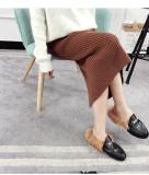 Westliche Frauen-Bleistift-Kleider strickten hohe Taillen-Dame Fashion Fomal Office Dress mit gestreifter Fußleiste