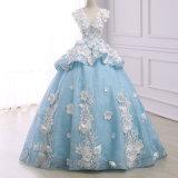 백색 레이스에 의하여 아플리케를 하는 파란 신부 드레스 결혼 예복
