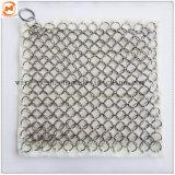 Sartén de hierro fundido Lavadora / Chainmail Limpiador de malla de acero inoxidable