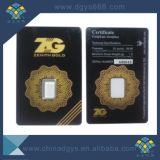 Conjunto de tarjeta de empaquetado de la moneda de oro