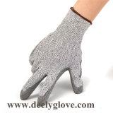 Отрежьте покрытие ладони PU уровня 5 черное на перчатках 4543 безопасности вкладыша Hppe серых