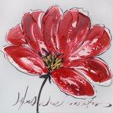 Rotes großes blühendes Blumen-Ölgemälde