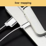Metal redondo de 1m Cable de carga USB para Samsung Xiaomi iPhone