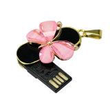 As penas as mais baratas do USB da borboleta de cristal do metal da capacidade total