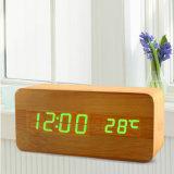 Деревянные будильник СИД франтовские цифров, календар отметчика времени и температура, Cubes будильник стола
